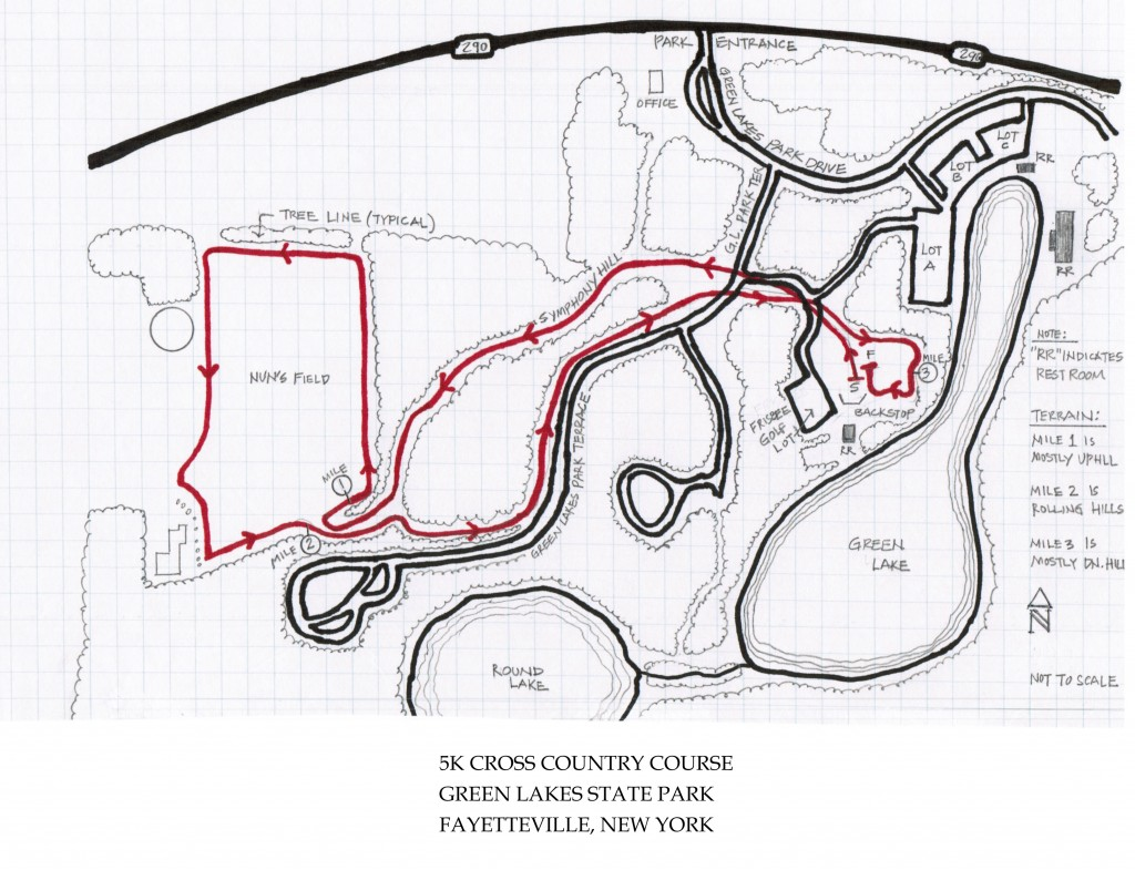 5k xc course at Green Lakes State Park