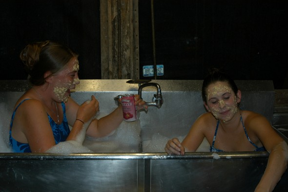 Lily on the left Lisa on the right having a spa night in my kitchen sink.